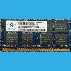 NANYA NT1GT64U8HB0BN-3C  0749.CN  --  1GB.2RX8.PC2-5300S-555-12-F1.667  --  M207C0409D.X2  --  DDR2 200-Pin 667MHz